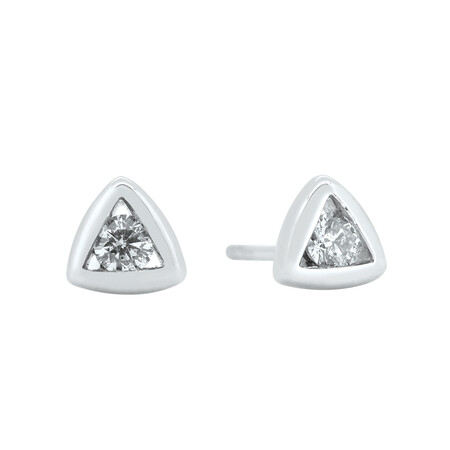 Triangle Stud Earrings with 0.18 Carat TW of Diamonds in 10ct White Gold