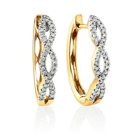 Huggie Earrings with 1/4 Carat TW of Diamonds in 10kt Yellow Gold