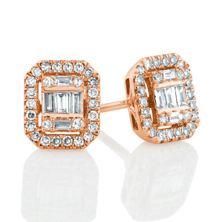 Rectangular Diamond Stud Earrings with 0.30 Carat TW of Diamonds in 10kt Rose Gold