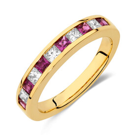 Online Exclusive - Ring with Ruby & 0.375 Carat TW of Diamonds in 10kt Yellow Gold