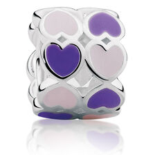 Purple & Pink Heart Enamel Charm