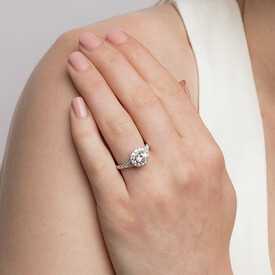 Ring with Created White Sapphire in Sterling Silver
