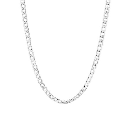 """55cm (22"""") Men's Curb Chain in 10kt White Gold"""