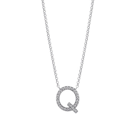 """""""Q"""" Initial necklace with 0.10 Carat TW of Diamonds in 10kt White Gold"""