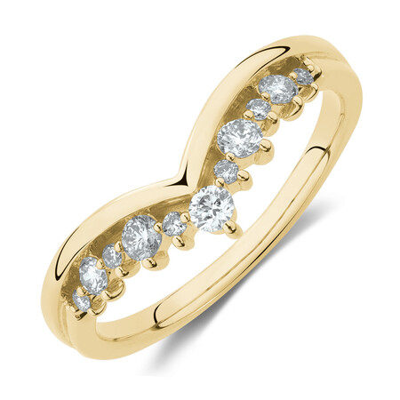 Chevron Ring with 1/4 Carat TW of Diamonds in 10kt Yellow Gold