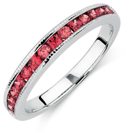 Ring with Red Cubic Zirconia in Sterling Silver