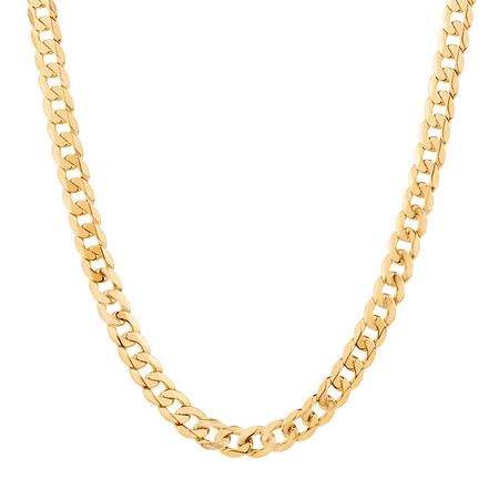 "55cm (22"") Beveled Diamond Cut Curb Chain in 14kt Yellow Gold"