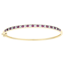 Bangle with Created Ruby & Diamonds in 10kt Yellow Gold