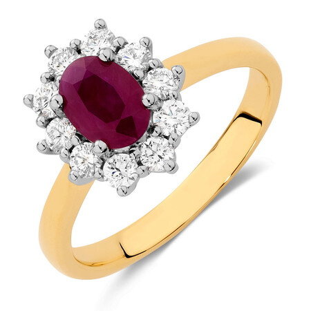Ring with Ruby & 1/2 Carat TW of Diamonds in 18kt Yellow & White Gold