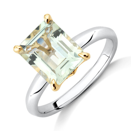 Green Amethyst Ring in Sterling Silver & 10kt Yellow Gold
