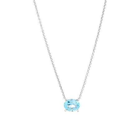 10mm Sky Blue Topaz Necklace in Sterling Silver