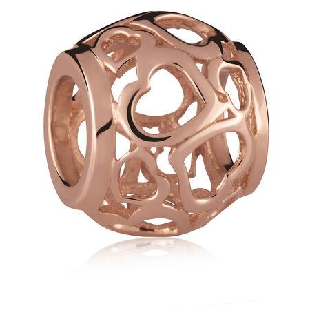 10kt Rose Gold Heart Filigree Charm
