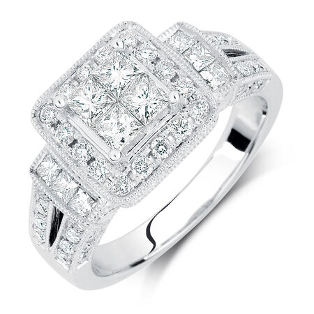 Engagement Ring with 1.37 Carat TW of Diamonds in 14kt White Gold