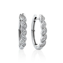 Twist Huggie Earrings with Diamonds in Sterling Silver