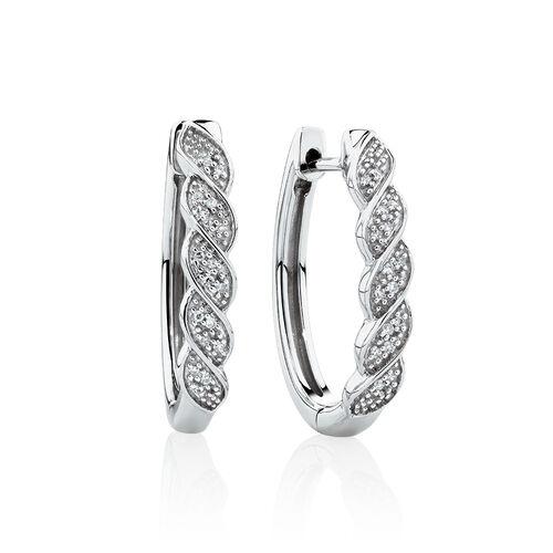 Twist Huggie Earrings with Diamonds in Sterling Silver