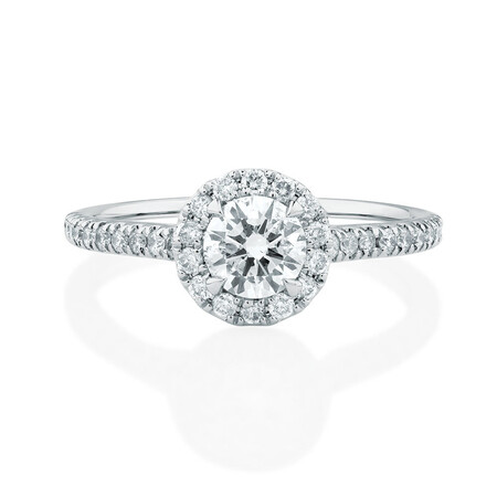 Engagement Ring with 0.92 Carat TW of Diamonds in 14kt White Gold