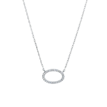Oval Pendant With Diamonds in Sterling Silver
