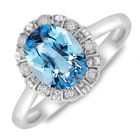 Ring with Blue Topaz & Diamond in 10kt White Gold