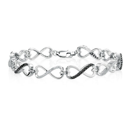 Tennis Bracelet with 0.70 Carat TW of White & Enhanced Black Diamonds in Sterling Silver