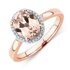 Ring With Created Peach Sapphire & Diamonds In 10kt Rose Gold