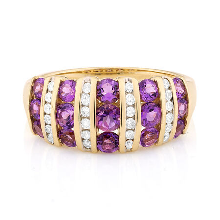 Ring with Amethyst & 1/5 Carat TW of Diamonds in 10kt Yellow Gold