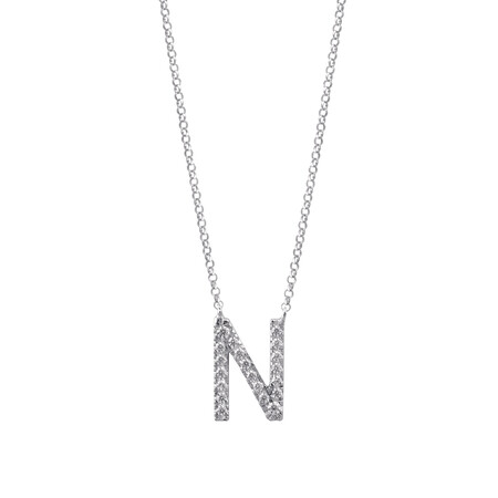 """""""N"""" Initial necklace with 0.10 Carat TW of Diamonds in 10kt White Gold"""