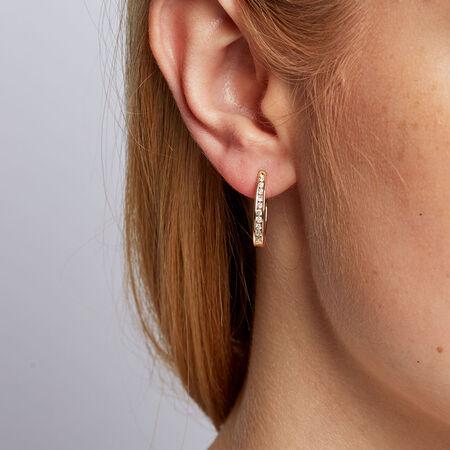 Hoop Earrings with 0.33 Carat TW of Diamonds in 10kt Yellow Gold