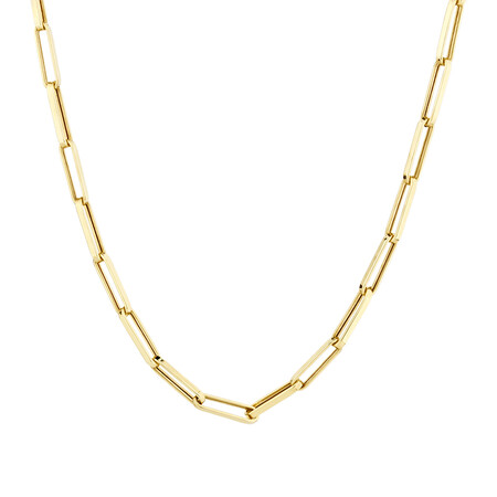 60cm Hollow Rectangle Link Chain in 10kt Yellow Gold