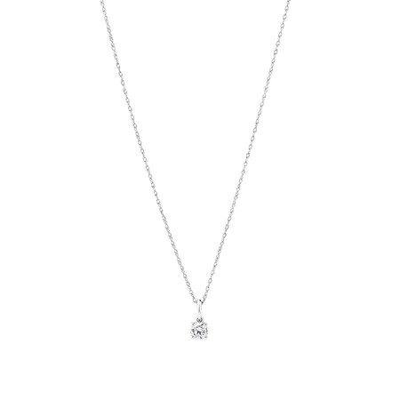 Laboratory-Created 0.25 Carat Solitaire Pendant In 10kt White Gold