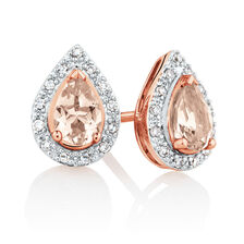 Earrings with Morganite & Diamonds in 10kt Rose Gold