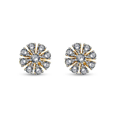 Cluster Stud Earrings with 0.70 Carat of Diamonds in 10kt Yellow Gold