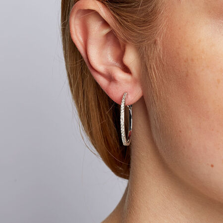 Hoop Earrings with 1/2 Carat TW of Diamonds in Sterling Silver