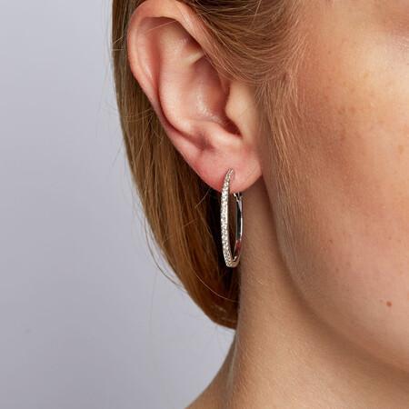Hoop Earrings with 1/2 Carat TW of Diamonds in Sterling Silver