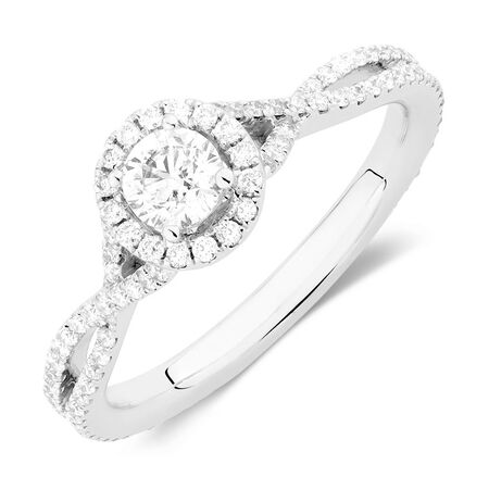 Sir Michael Hill Designer GrandAdagio Engagement Ring with 0.79 Carat TW of Diamonds in 14kt White Gold