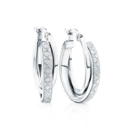 Double Glitter Hoops in Sterling Silver