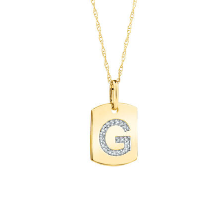 "G"" Initial Rectangular Pendant With Diamonds In 10kt Yellow Gold"