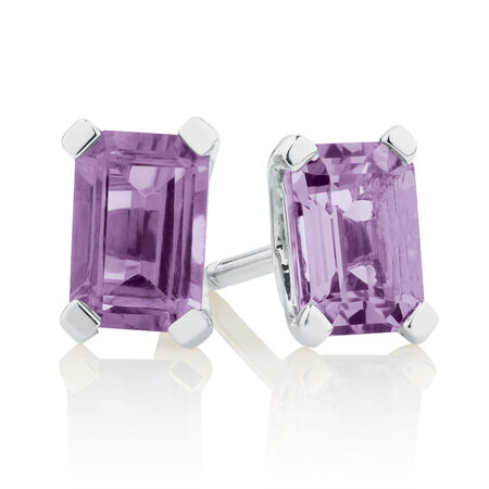 Stud Earrings with Amethyst in 10kt White Gold