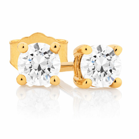 Classic Stud Earrings with 0.46 Carat TW of Diamonds in 14kt Yellow Gold