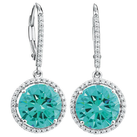 Drop Earrings with Mint Green & White Cubic Zirconia in Sterling Silver