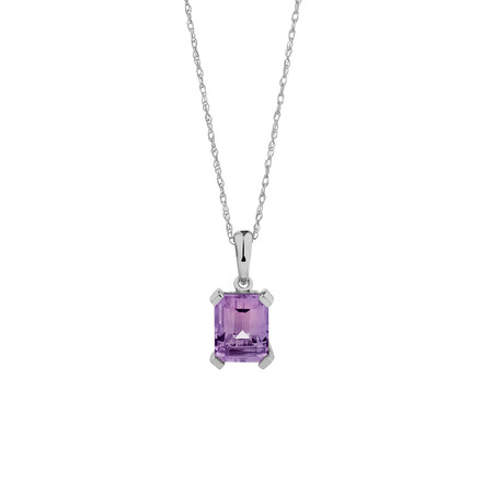 Pendant with Amethyst in 10kt White Gold
