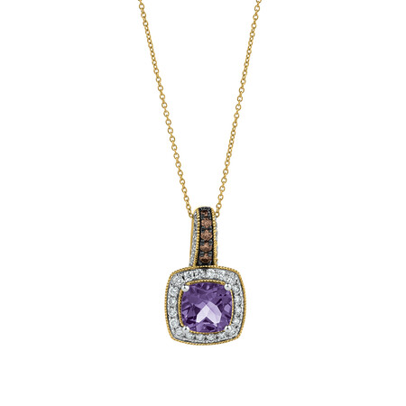 Pendant with Amethyst & 1/2 Carat TW of Diamonds in 14kt Yellow, White & Rose Gold