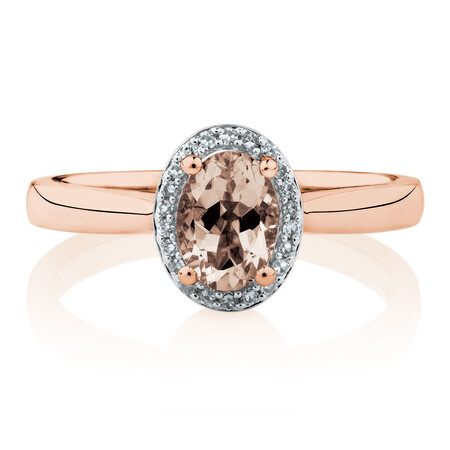 Ring with Morganite & Diamonds in 10kt Rose Gold