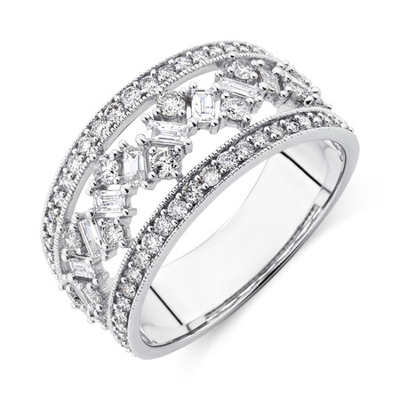 Three Row Ring with 1 Carat TW of Diamonds in 10kt White Gold