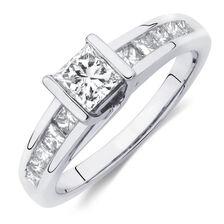 Engagement Ring with 1.09 Carat TW of Diamonds in 14kt White Gold