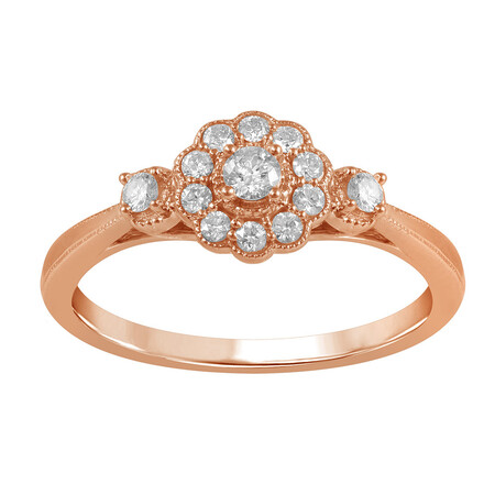 Flower Ring with 1/4 Carat TW of Diamonds in 14kt Rose Gold