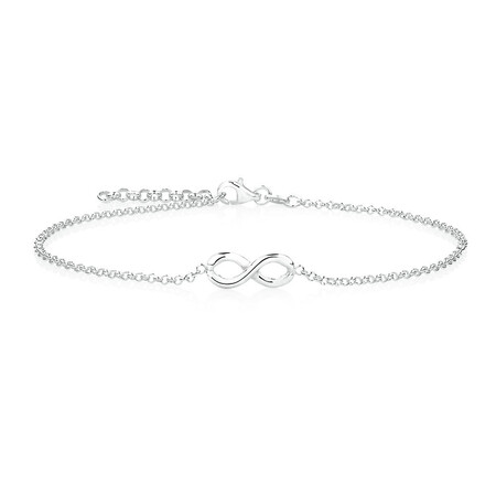"26cm (10.5"") Infinity Anklet in Sterling Silver"