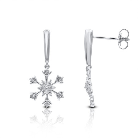 Floral Earring with Diamonds in 10kt White Gold
