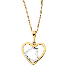 Heart Pendant in 10kt Yellow & White Gold