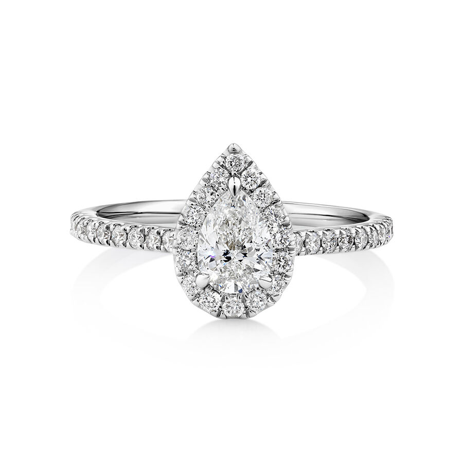 Halo Pear Engagement Ring with 0.92 Carat TW of Diamonds in 14kt White Gold