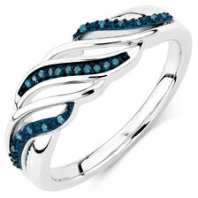 City Lights Ring with Enhanced Blue Diamonds in Sterling Silver